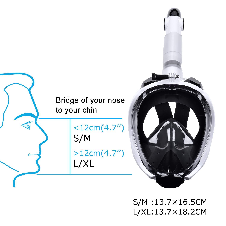 LATITOP Vollgesichts-Schnorchelmaske 180 ° Mit Meerblick Atmungsaktive Schnorchelmasken Für Erwachsene Oder Kinder Anti-Fog-Sicherheitstauchen Mit Abnehmbarer Action-Kamerahalterung
