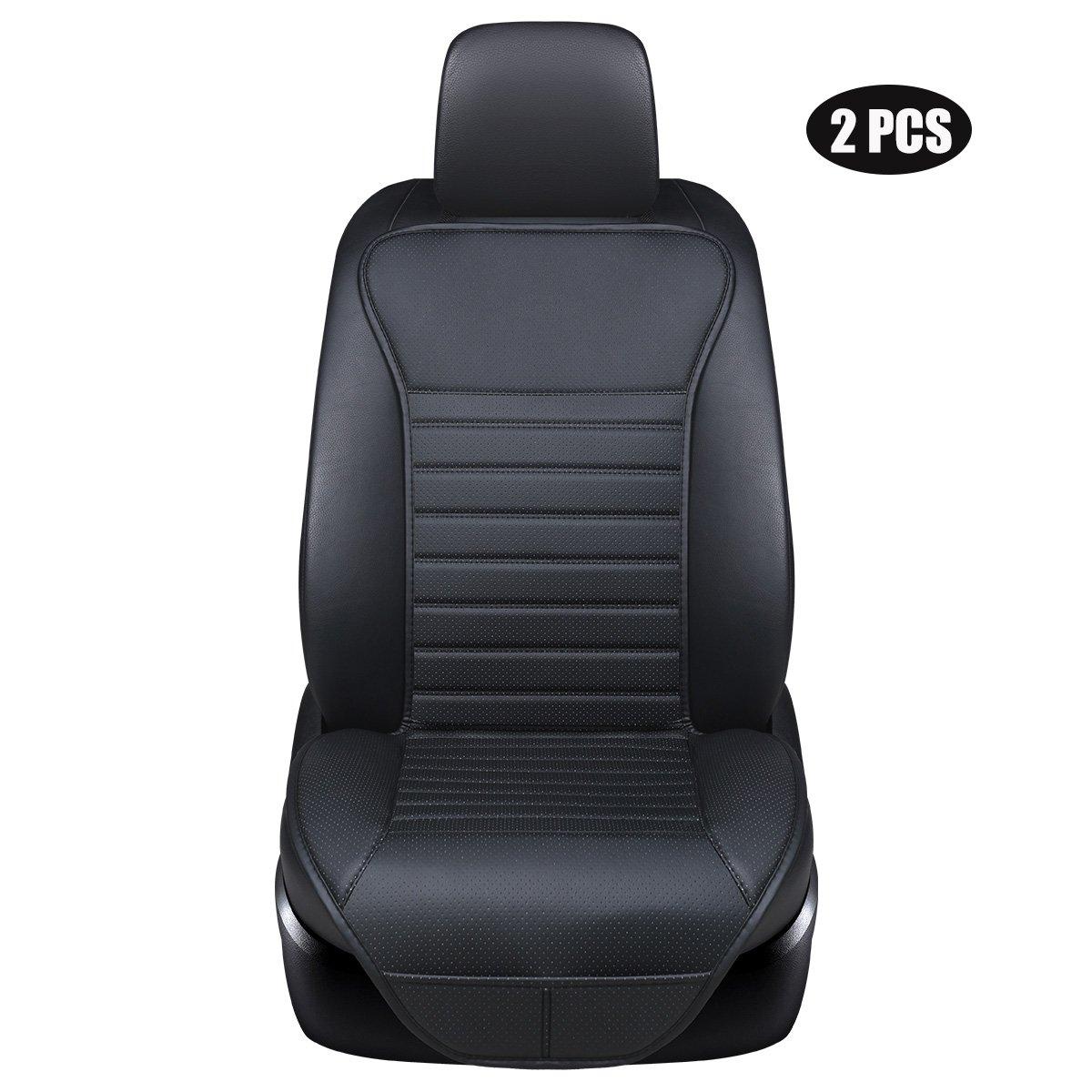 EDEALYN ( 2個入り)ドライバーと助手席シートカバーPUレザーシートカバーユニバーサルカーシートカバーフロントシートプロテクターフィット最もセダン&トラック& SUV QJ-JJ0142-Black(2) B0791HXP1P 2 PCS Black - no charcoa 2 PCS Black  no charcoa