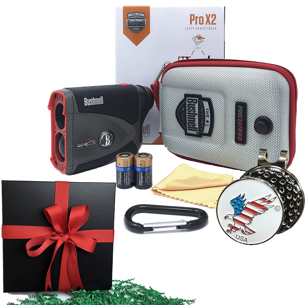 GIFT PACK | Bushnell Pro X2 Golf Laser Rangefinder | Includes Golf Rangefinder (Slope & Non-Slope Function) with Carrying Case(Clip included), Custom Ball Marker Hat Clip Set and Two (2) CR2 Batteries