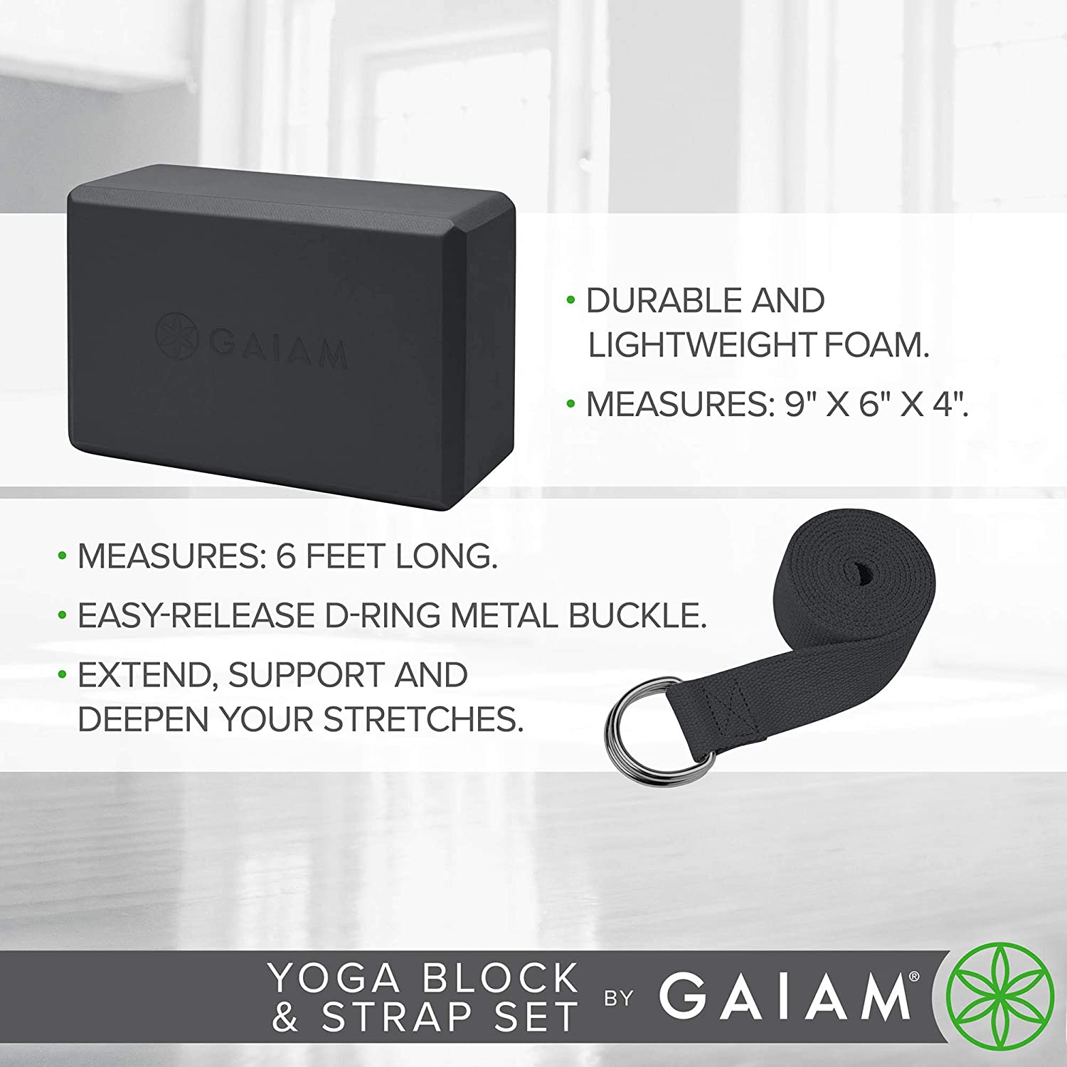 Amazon.com: Gaiam Yoga correa/bloque Combo, Negro: Sports ...