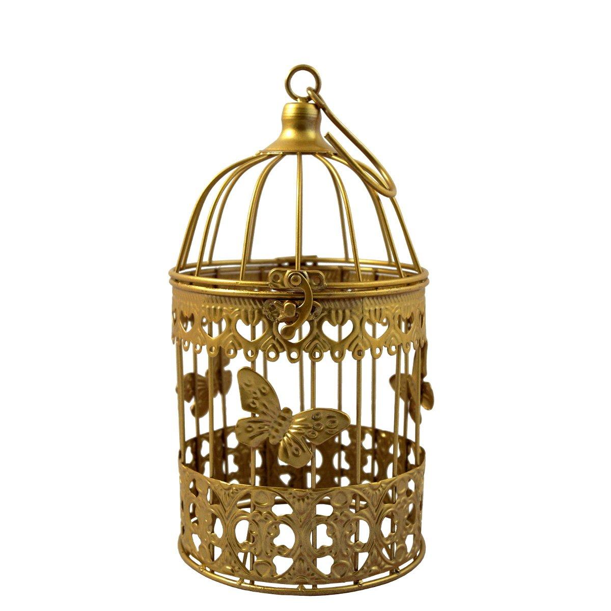 PrimoLiving Jaula de pájaro Jaula Decorativa Metal Shabby Oro ...