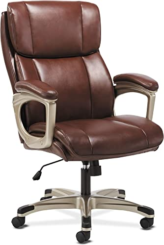Sadie Executive Computer Chair- Fixed Arms for Office Desk, Brown Leather HVST316