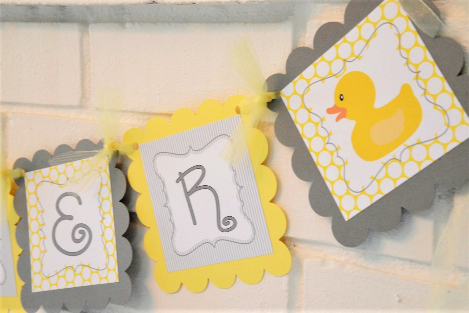 Amazon Com Gray And Yellow Rubber Ducky Baby Shower Banner