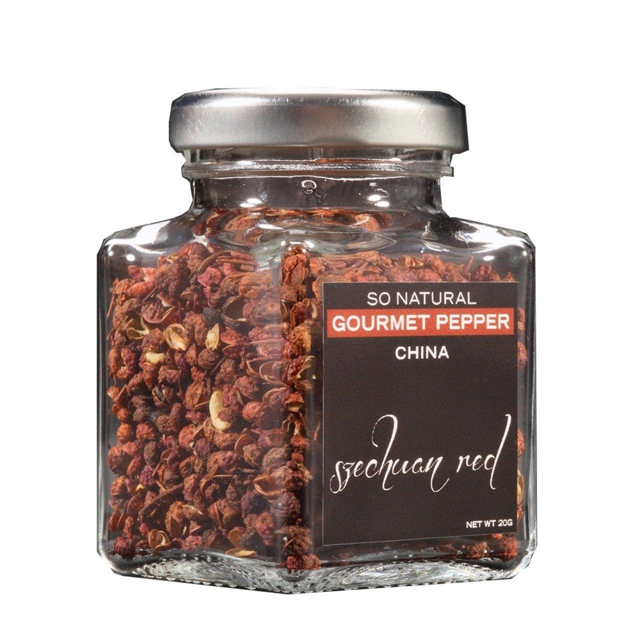 So Natural Gourmet Red Szechuan Gourmet Pepper 30g in Glass Jar