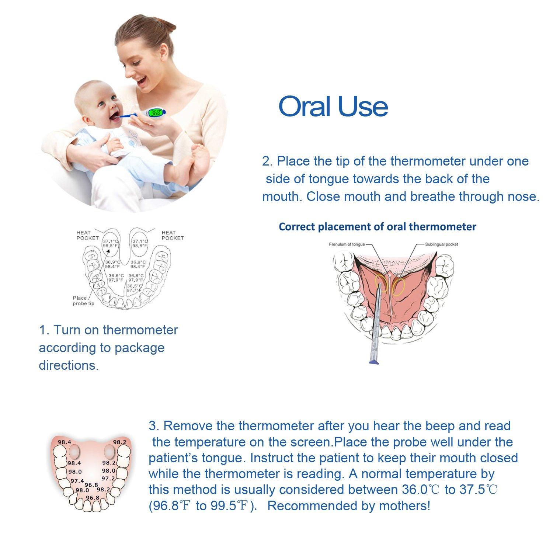 DigiELE Termómetro Digital para la Administración Oral, Rectal y Axilar, punta flexible, precisa Lectura Instantánea para bebe, niño y adulto, Sin ...