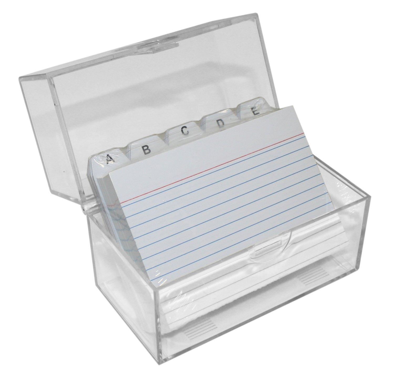 Idena 375257 - Schedario trasparente provvisto di coperchio con chiusura a scatto, completo di 100 schede e separatori alfabetici (A-Z), ideale per archiviare schede formato A7