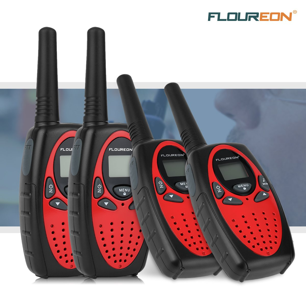 Floureon 4 Packs 22-Channel FRS/GMRS Two Way Radios Up to 3000M/1.9MI Range (MAX 5000M/3.1MI) Handheld Walkie Talkies for Outdoor Adventure (Red) by floureon (Image #9)
