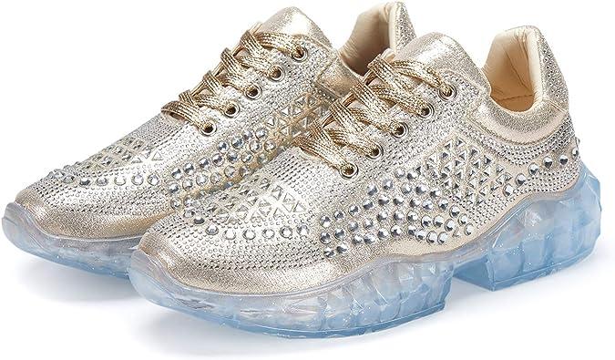 New women high Wedge Heel Platform Sneakers Rhineston Trainers shoes Crystal