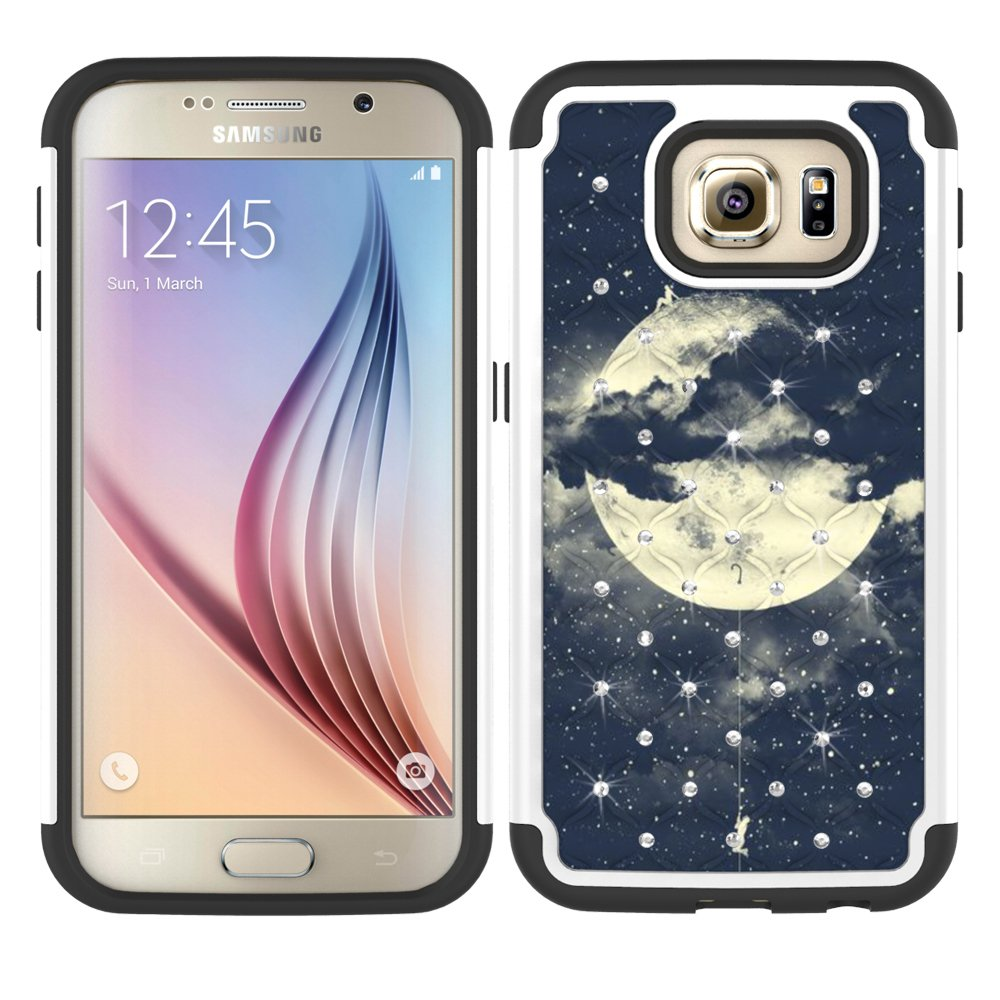 Galaxy S7 Case, MagicSky [Shock Absorption] Studded Rhinestone Bling Hybrid Dual Layer Armor Defender Protective Case Cover for Samsung Galaxy S7 (Moon)
