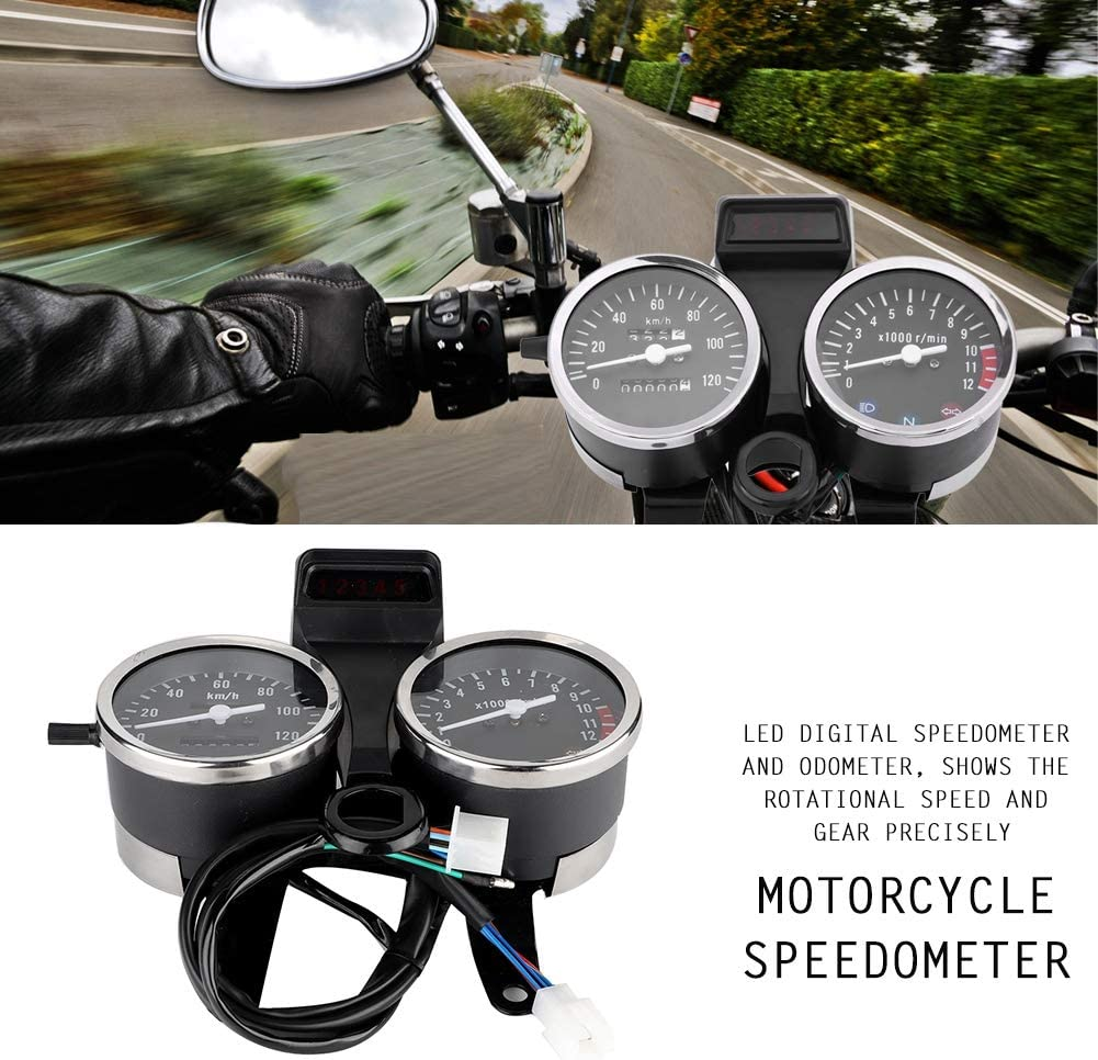 Motorcycle Speedometer,LED Motorcycle Modified Accessories Speedometer Odometer Tachometer for Suzu/_ki GN125