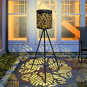 Outdoor Lights Solar Powered Patio Floor Lamp,Metal Big Decorative Lantern for Garden Lawn Yard Pool Pathway