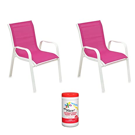 Kids Outdoor Stacking Patio Chair In Pink With Antibacterial Hand Wipes