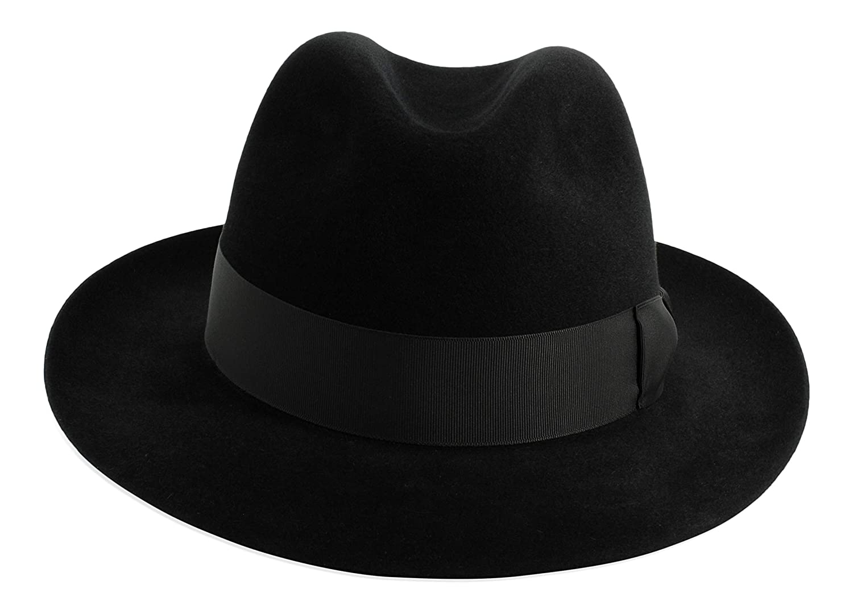 809c42e6f94eb2 Gamble & Gunn 'Shirwell' Luxury Handmade Fur Felt Fedora - Black:  Amazon.co.uk: Clothing
