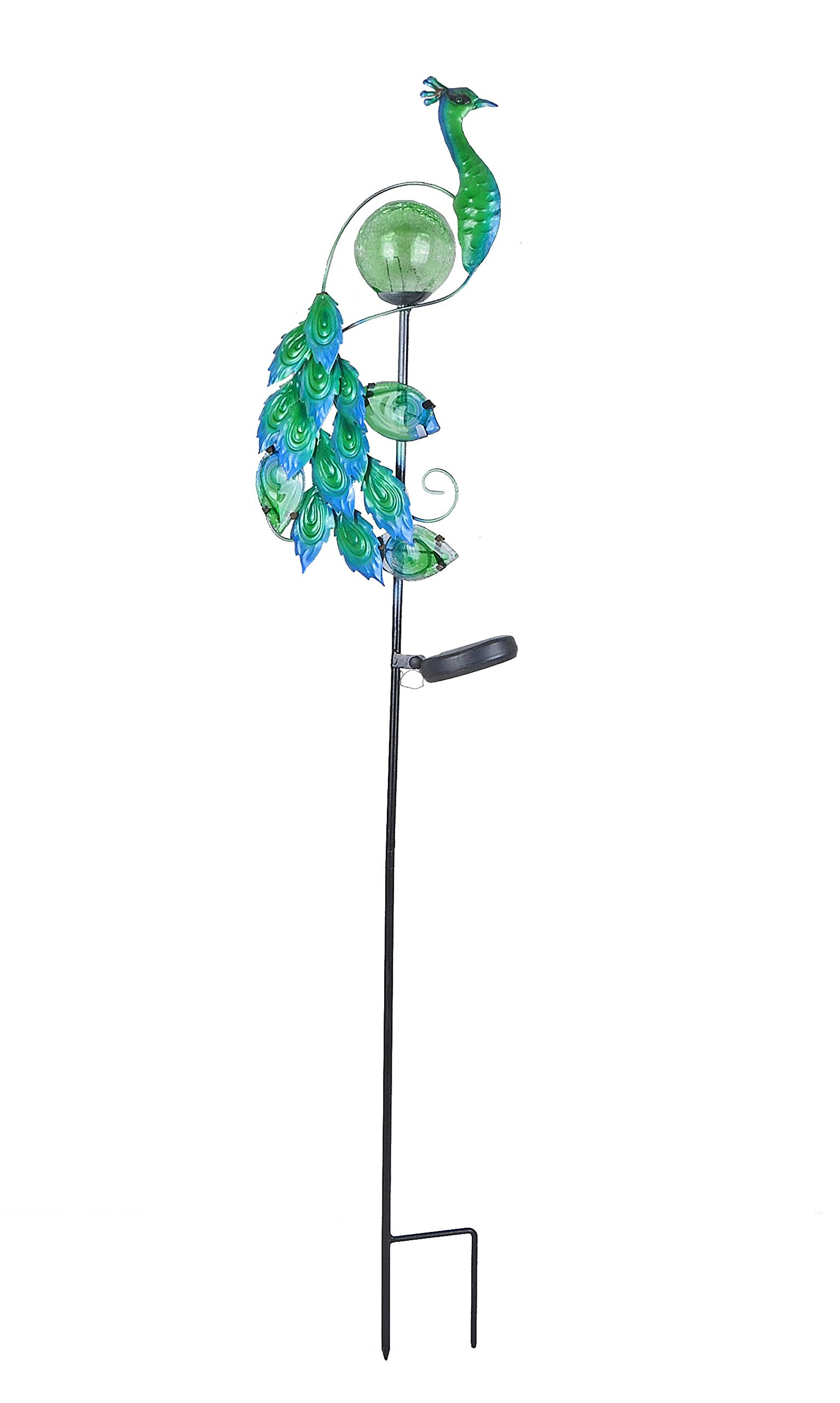 Continental Art Center Peacock Solar Stake, Green, 8 by 3 by 42-Inch