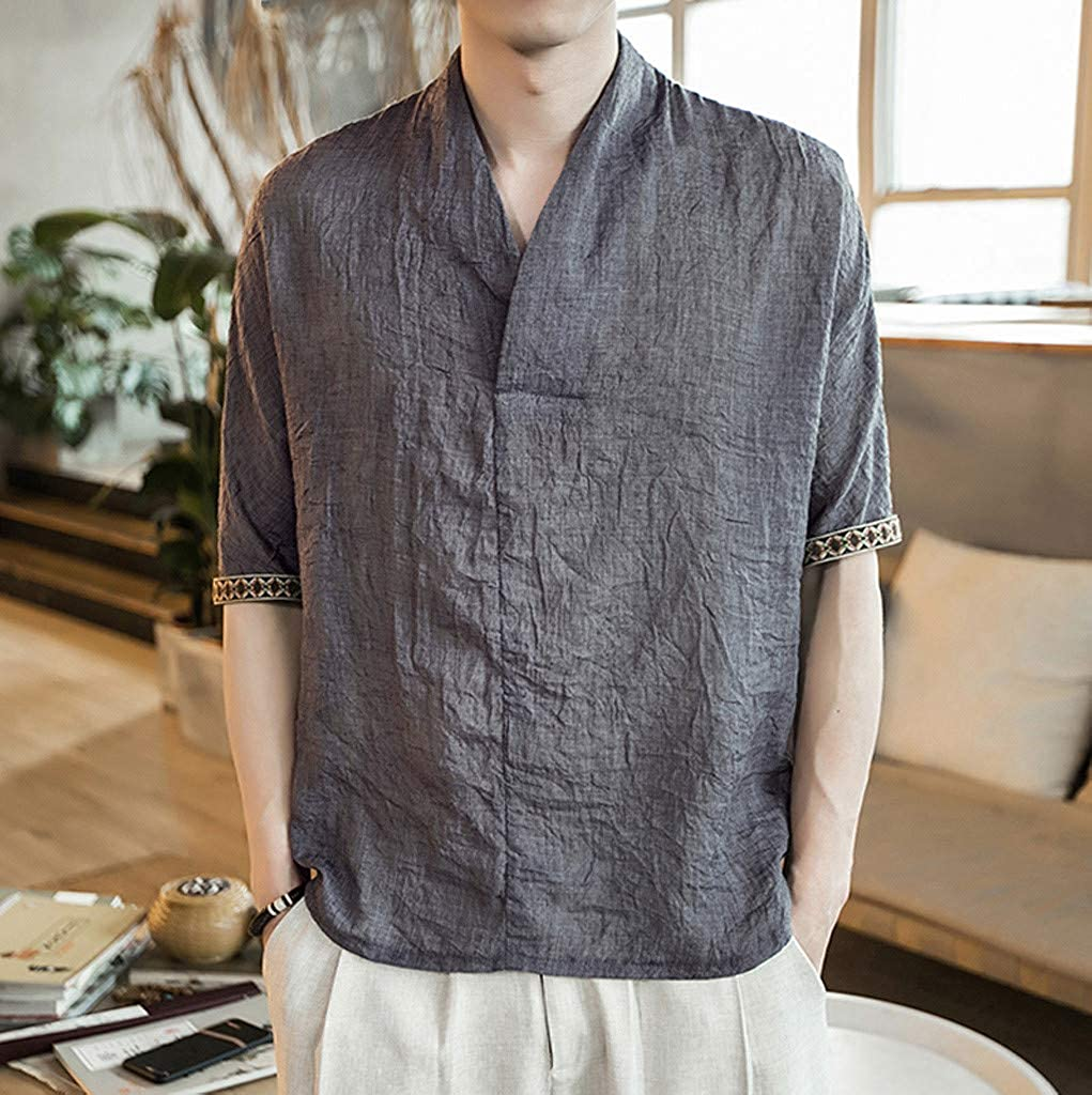 Mr.Macy Mens New Summer Casual Short-Sleeved Shirt Fashion Cotton Linen Blouse Top