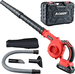 AOBEN Cordless Leaf Blower with Battery & Charger, Electric Leaf Blower for Yard Clean/Lawn Care/Garage, Lightweight Leaf Blower Battery Powered for Snow Blowing (Battery & Charger Included)-Red