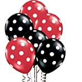 25Ct Assorted Red and Black Balloons with White Polka Dots