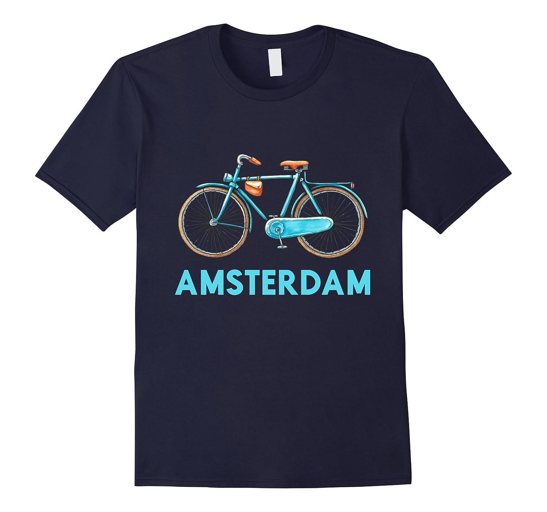 Amsterdam Bike Retro Tee City Cycling Shirt Dutch T-Shirt-FL