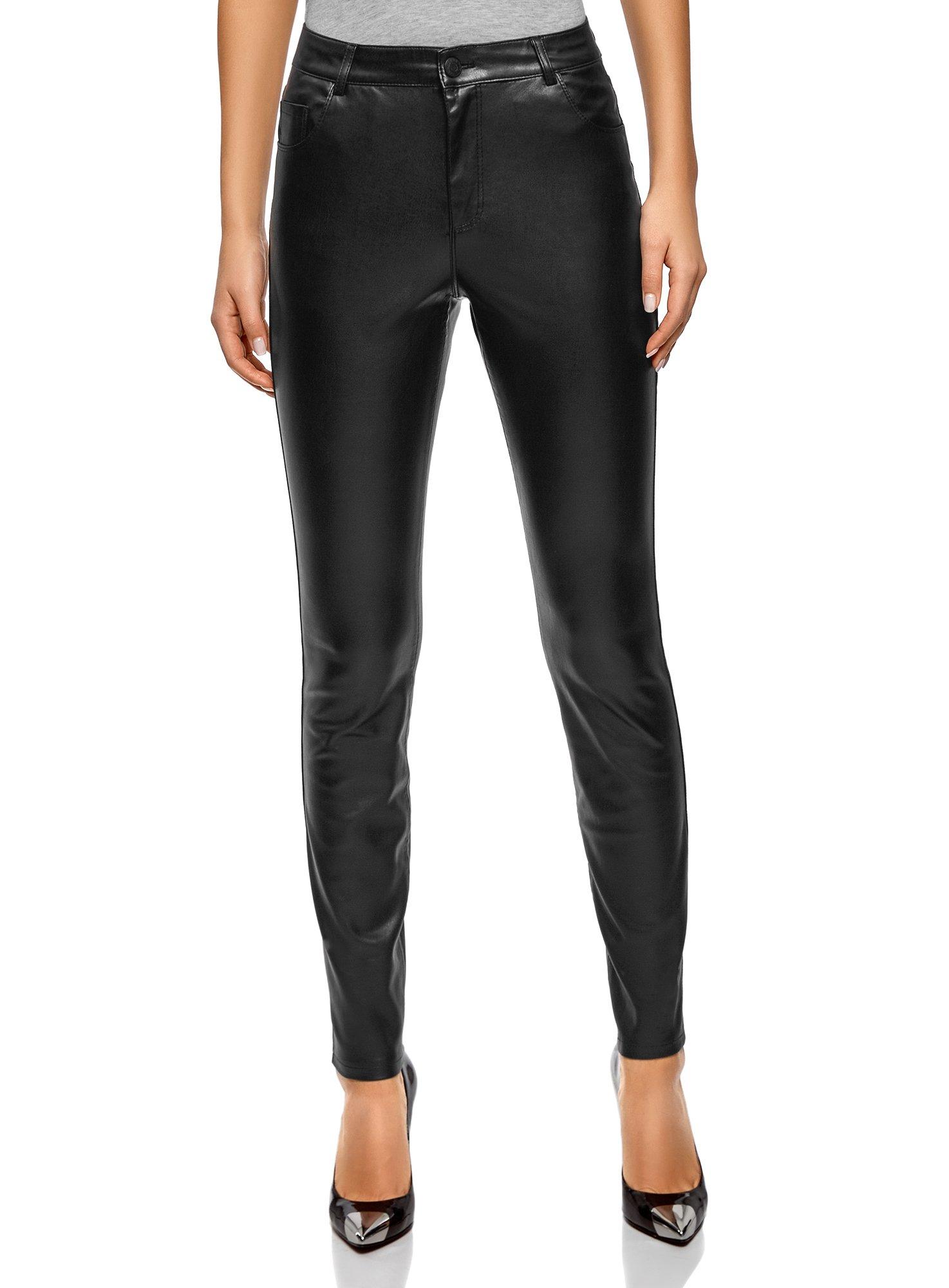 oodji Ultra Women's Slim-Fit Faux Leather Trousers, Black, 2