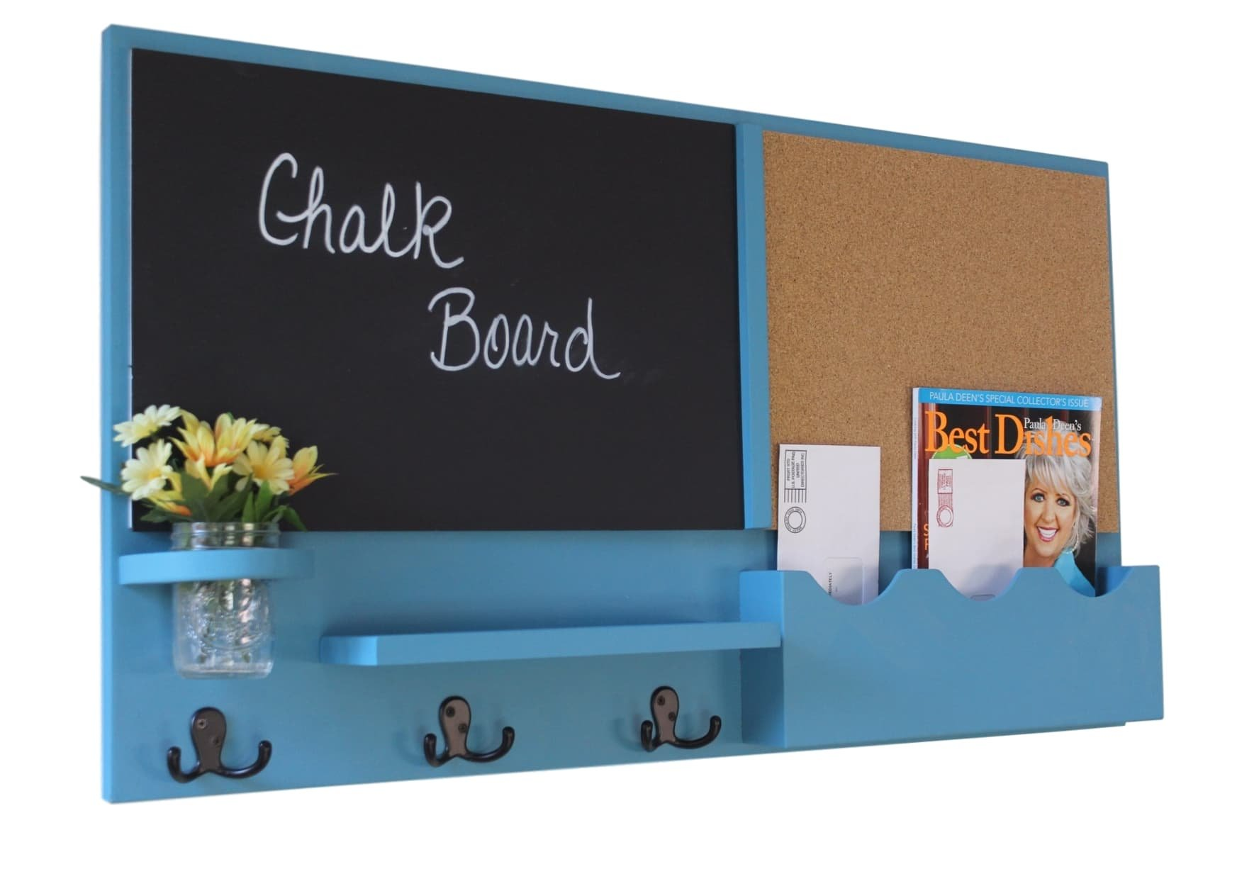 Legacy Studio Décor Message Center with Chalkboard Cork Board Mail Organizer Key Hooks Coat Hooks Mason Jar (Smooth, Teal)