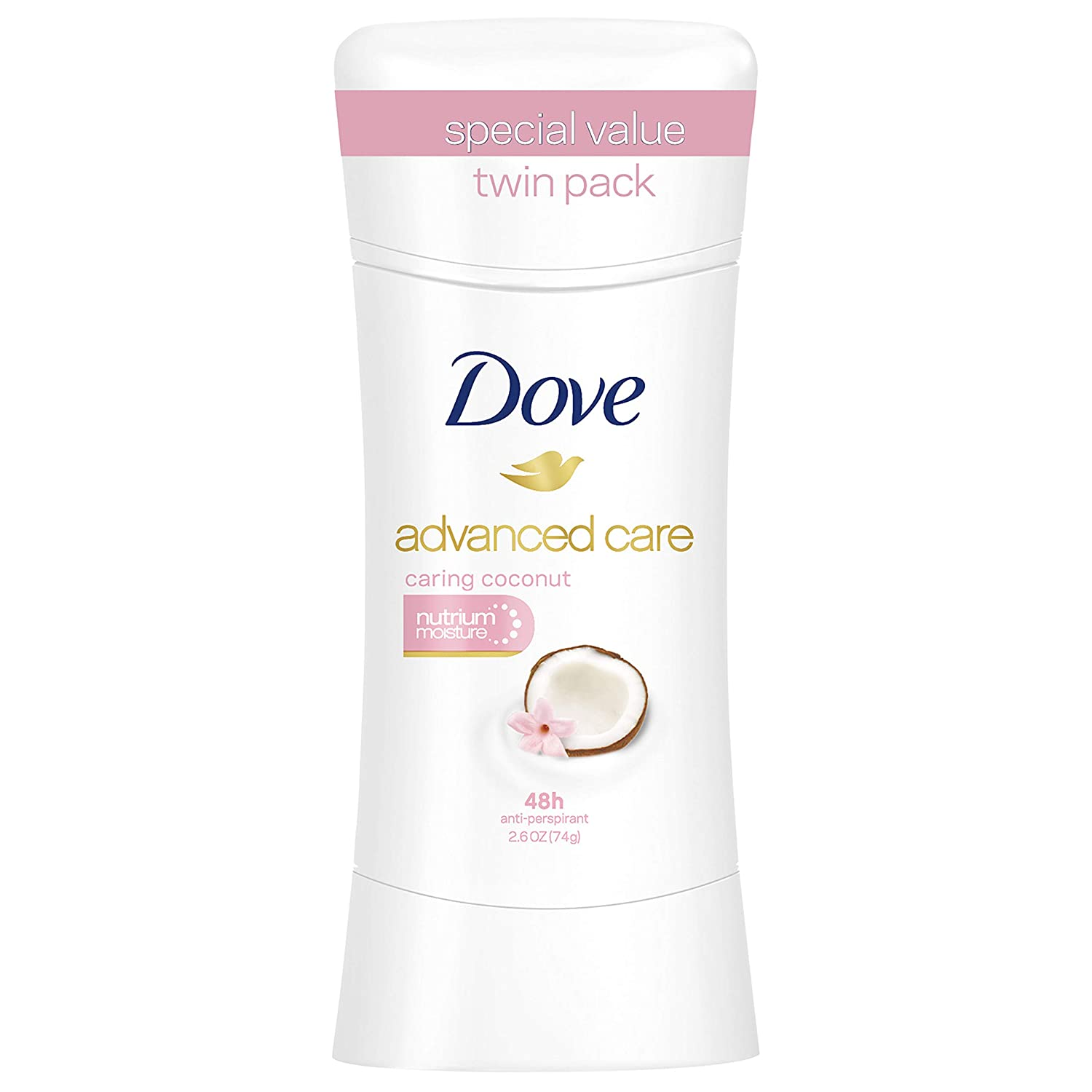 Dove Advanced Care Antiperspirant, Caring Coconut, 2.6 oz, Twin Pack