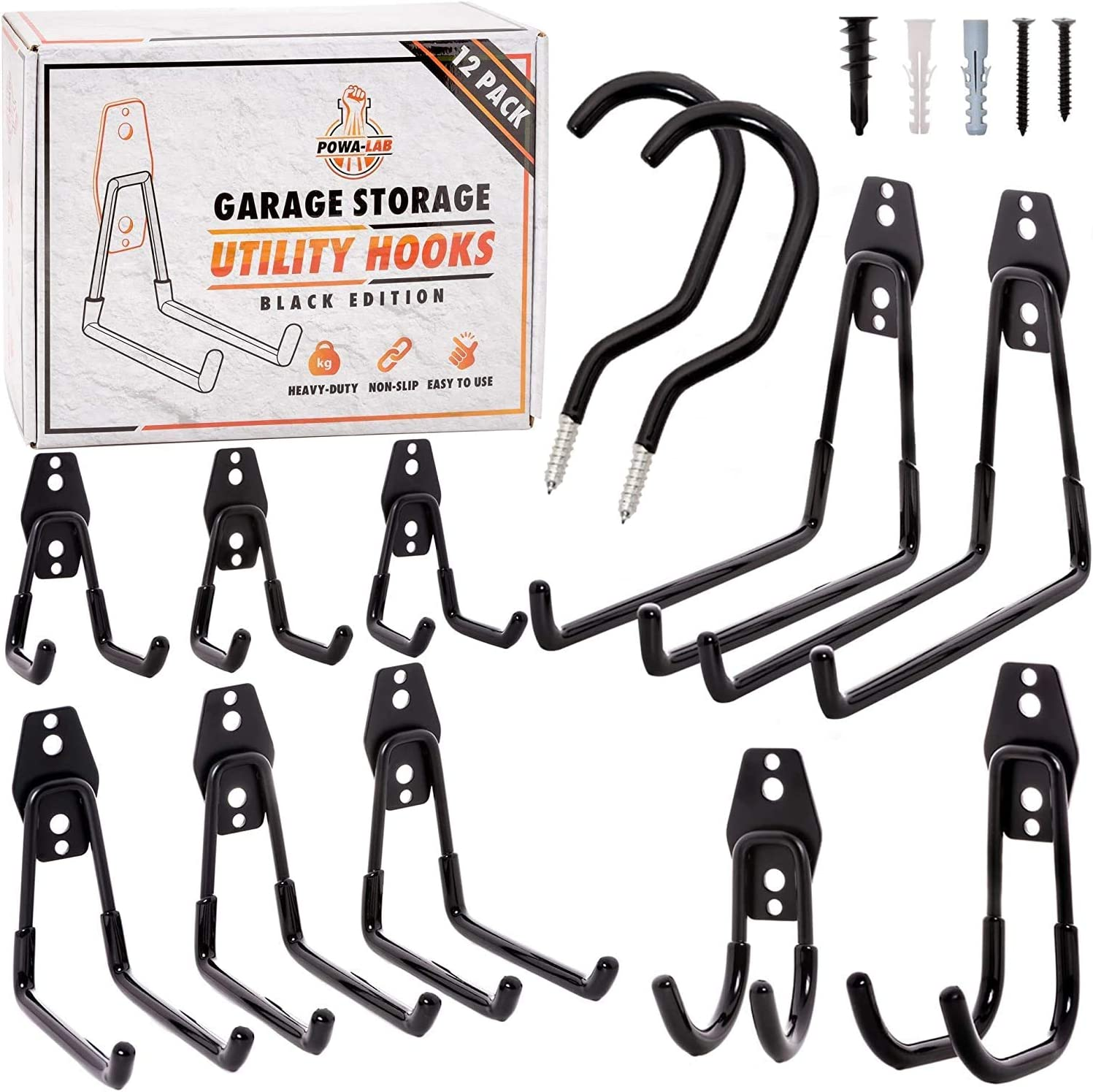 12 Piece Set Steel Garage Storage Hooks with Bike Hooks for Garage Organization - Utility Heavy Duty Hooks for Organizing Power Tools, Ladders, Bikes, Bulk Items - Tool Hangers for Wall - Powa-Lab