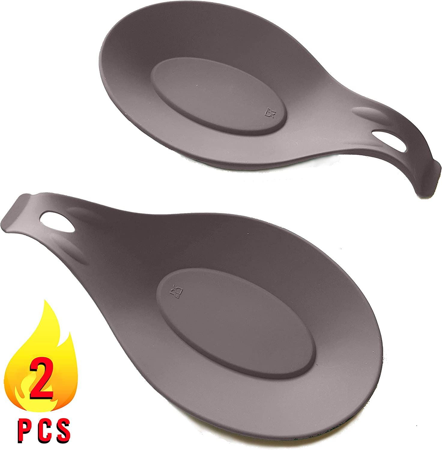 Silicone Spoon Rest 2 pcs Set | Spoon Holder For Stove Top | Spoon Rest For Stove Top | Spoon Rests For Kitchen Utensils | Spatula Holder | Utensil Rest | Cooking Spoon Holder| Heat Resistant Silicon