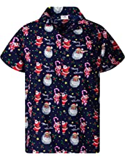 King Kameha Hawaiian Shirt for Men Funky Casual Button Down Very Loud Shortsleeve Christmas Unisex X-Mas Mix