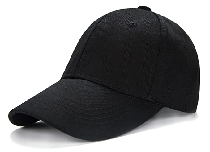 1f5726f4695 Edoneery Unisex Kids Plain Cotton Adjustable Low Profile Baseball Cap Hat  (Black)