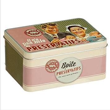 Caja Metalica Bote Vintage Retro para Preservativos Diseño Paris 510160 7090: Amazon.es: Hogar