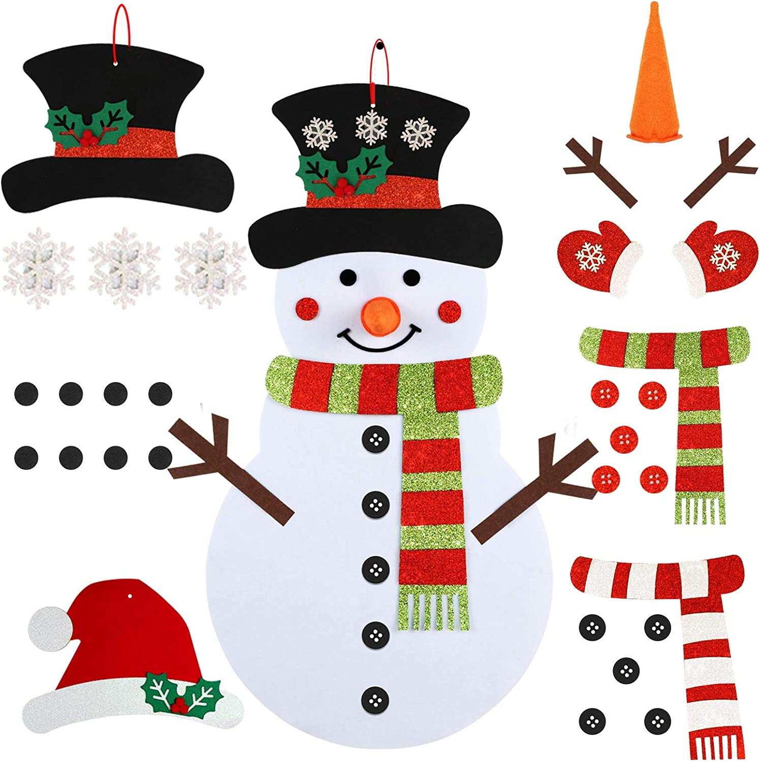 OurWarm DIY Felt Christmas Snowman Games Set for Kids,3.1Ft Double Sided Felt Snowman Games with 35pcs Glitter Detachable Ornaments for Toddles Xmas Gifts Christmas Door Wall Hanging Decorations