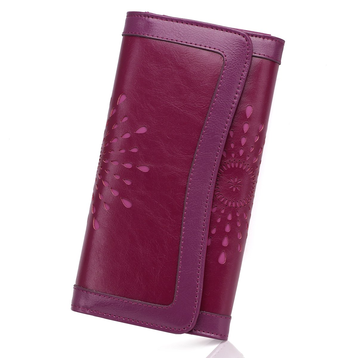APHISONUK Women's Soft Leather Wallet RFID Blocking Credit Card Holder Long Wallets With Gift Box (Purple)