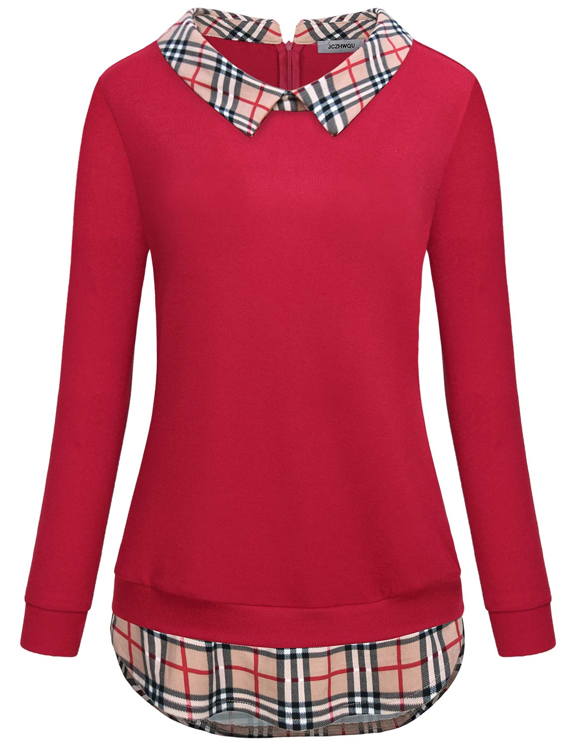 Long Sleeve Tops for Women Misses Blouses Grid Tartan Color Block Collared Round Hem Jersey Knitted Relaxed Fit Vibrant Stylish Special Meeting Wear Tunic Sweater Shirt Red XXL