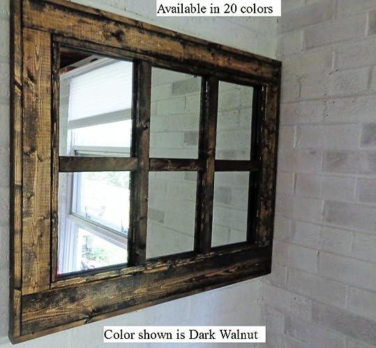 Renewed Decor 6 Pane Herringbone Reclaimed Wood Mirror In 20 Stain Colors