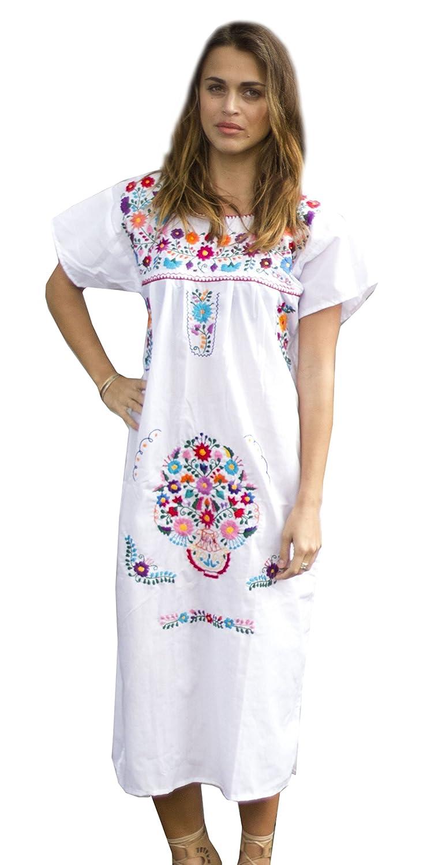 Amazon.com: Liliana Cruz Embroidered White Mexican Peasant Dress (XX ...