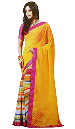 52c190b7d3 Indianbeautifulart Multicolour Georgette Sari with Blouse Bollywood Elegant  Sarees Traditional Women Clothes: Amazon.co.uk: Clothing