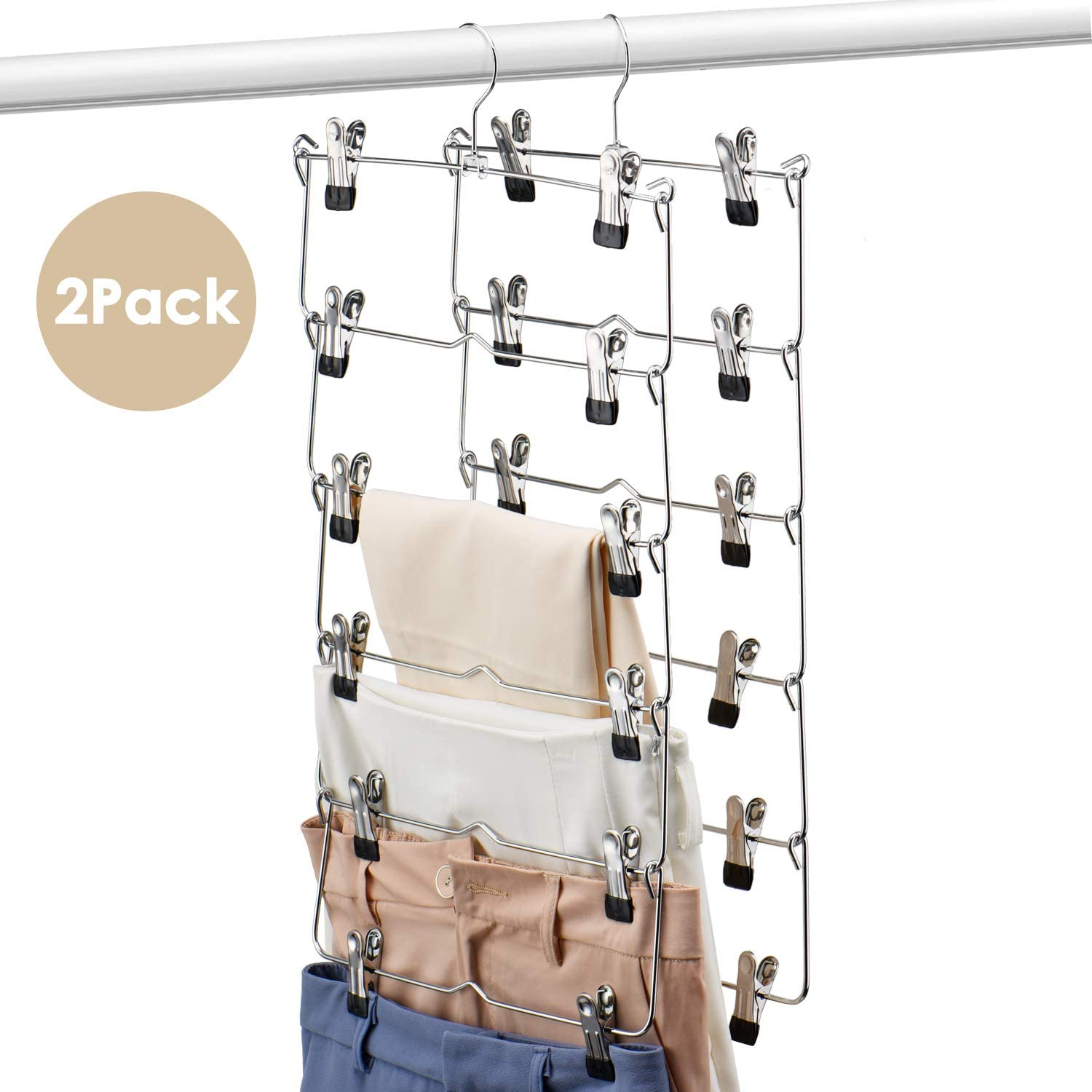 HOUSE DAY 6 Tiers Skirt Hangers with Clips Space Saving Pants Hangers,2 Pack Multi Slack Skirt Hanger with Clips Metal Pants Hnager for Slack, Trouser, Jeans,Towels,Sliver