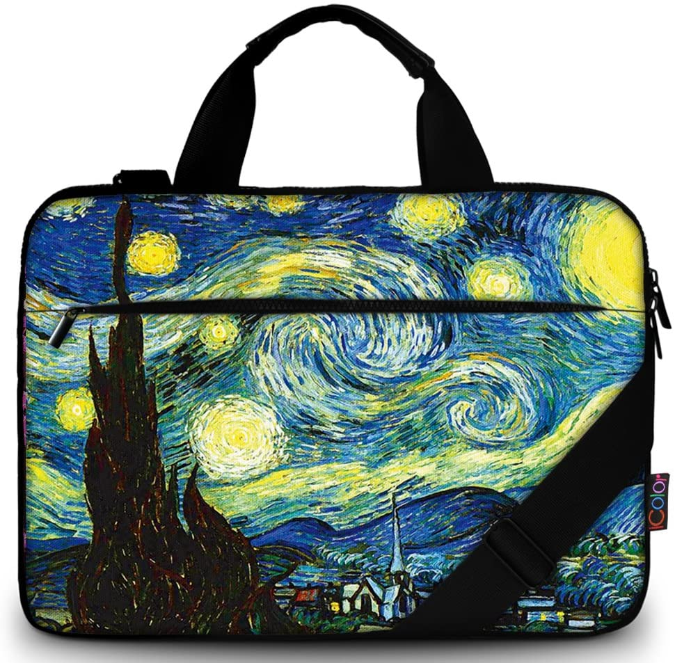 "iColor 15"" Canvas Laptop Shoulder Messenger Bags 14"" 15.4 Inch Briefcase 15.6"" Computer PC Notebook Tablet Handle Cases Carrying Sleeve Cover Holder for Office Netbook (14""~15.6"", Starry Nigh)"