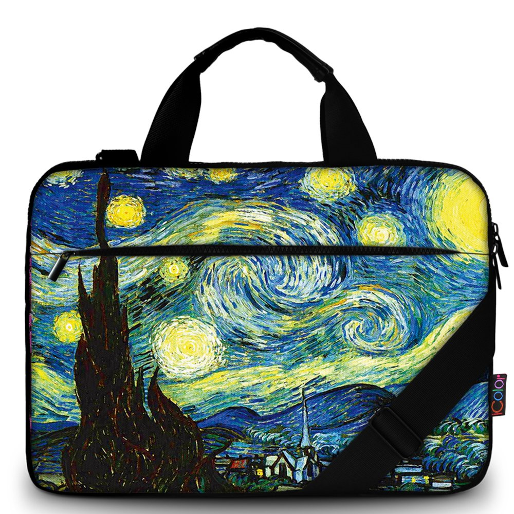 iColor 15'' Canvas Laptop Shoulder Messenger Bags 14'' 15.4 Inch Briefcase 15.6'' Computer PC Notebook Tablet Handle Cases Carrying Sleeve Cover Holder for Office Netbook (14''~15.6'', Starry Nigh)