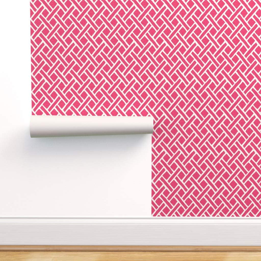 Spoonflower Peel and Stick Removable Wallpaper, Trellis Hot Pink White Asian Fuschia Lattice Print, Self-Adhesive Wallpaper 12in x 24in Test Swatch