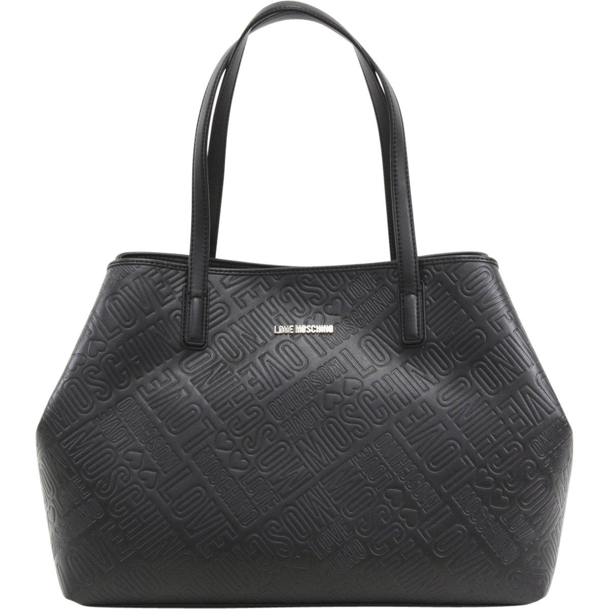 Love Moschino Women's Black Logo Embossed Satchel Handbag