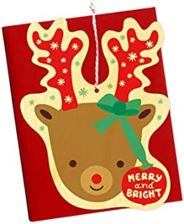 product image for Night Owl Paper Goods Bright Reindeer Real Wood Ornament Holiday Card
