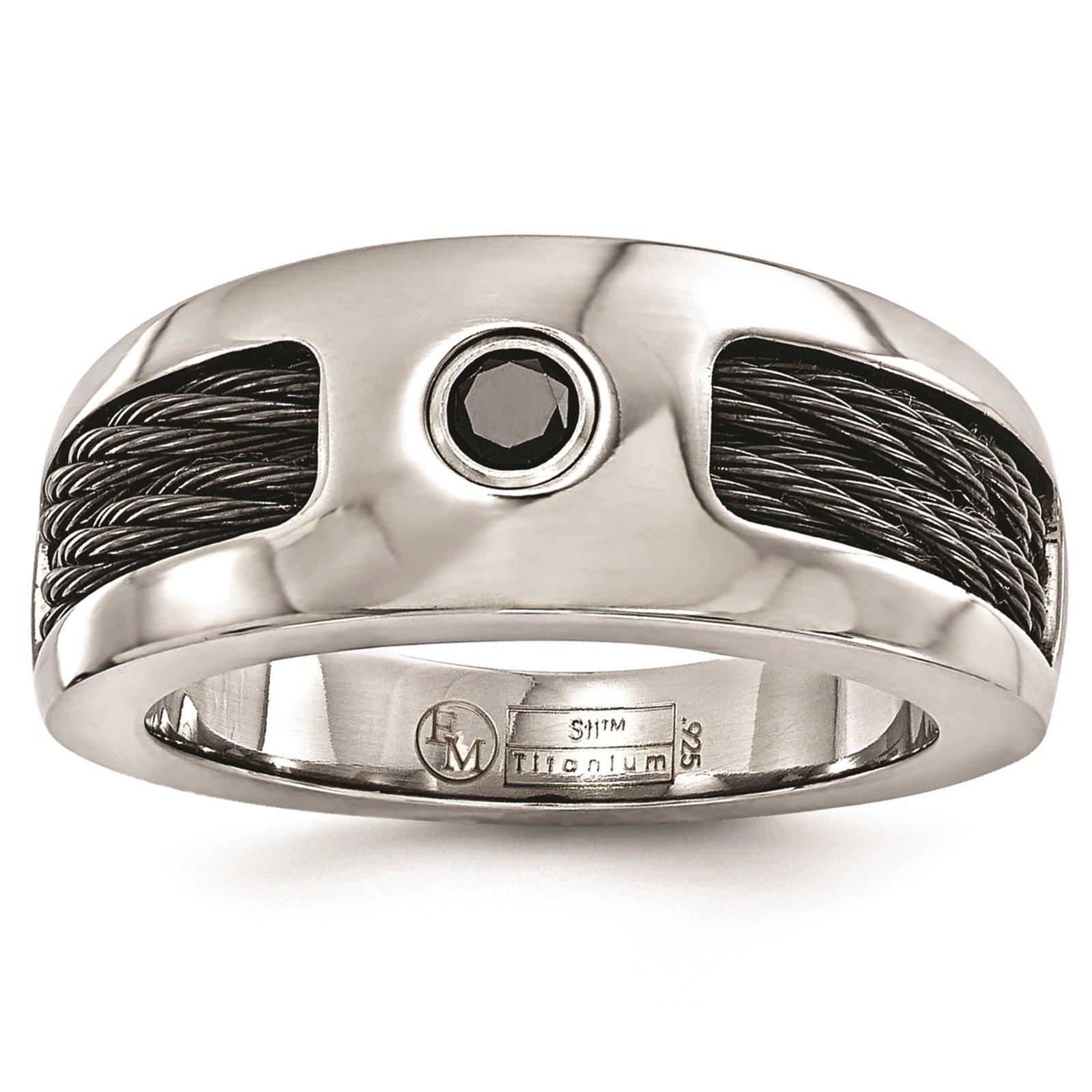 Titanium Cable & Black Spinel w/Sterling Silver Bezel 8mm Wedding Ring Band Size 8.5 by Edward Mirell