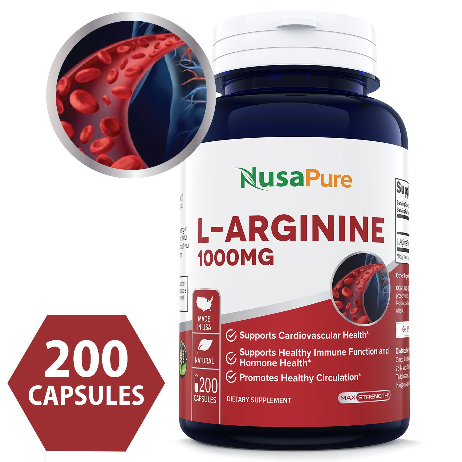 L-Arginine 1000 mg 200 Capsules (Non-GMO & Gluten Free) Amino Acid Arginine HCL Supplements for Women & Man - Supports Circulation and Cardiovascular Health by NusaPure
