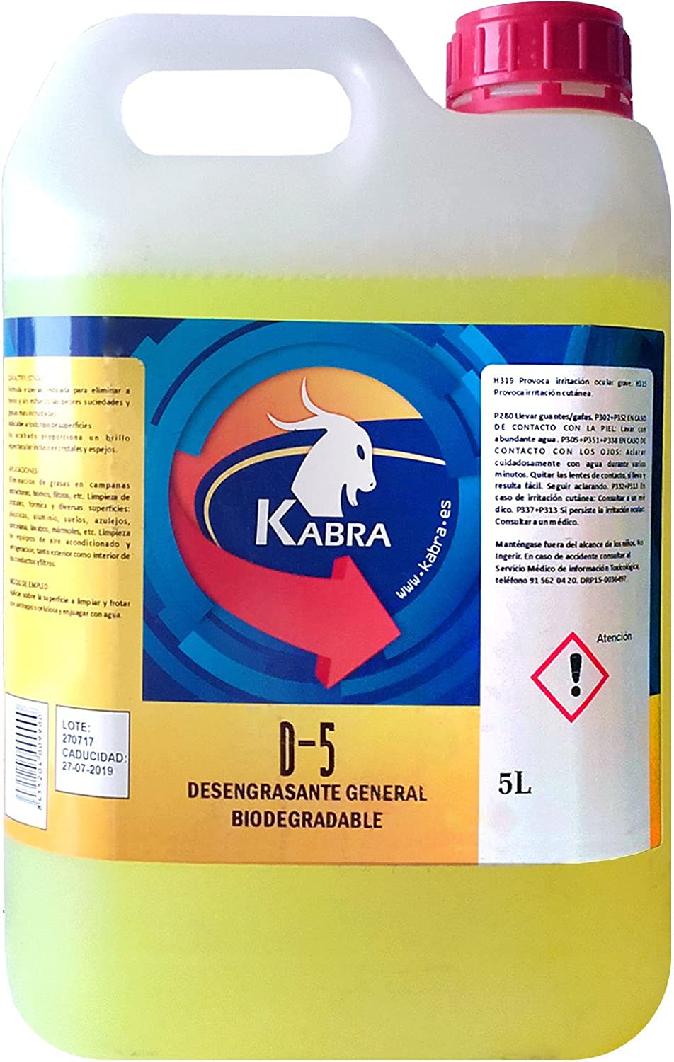 Kabra Desengrasante Biodegradable General (1 litro): Amazon.es: Hogar
