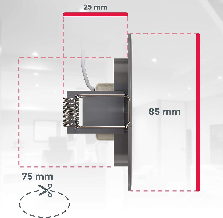 blanc neutre 4000K 460Lm B.K.Licht lot de 5 spots salle de bain LED IP44 /à encastrer ultraplats 25mm nickel mat platines LED 5W /éclairage plafond encastrable /Ø85mm