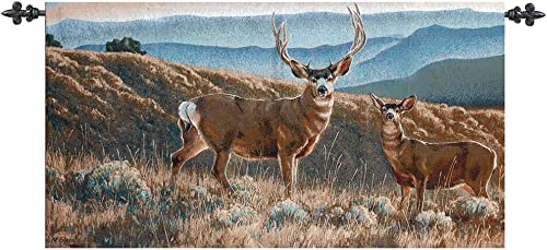 Manual Weavers A Moment In Time Mountainside Deer Cotton Wall Art Hanging Tapestry 26 x 47