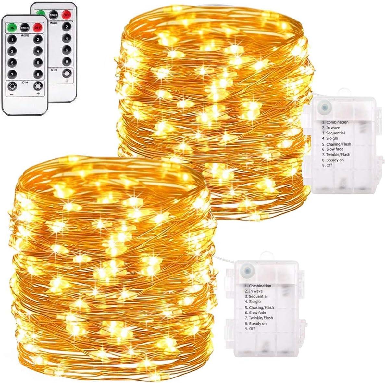 192 DEL Blanc Noël String Lights Indoor Outdoor Batterie 14.5 m