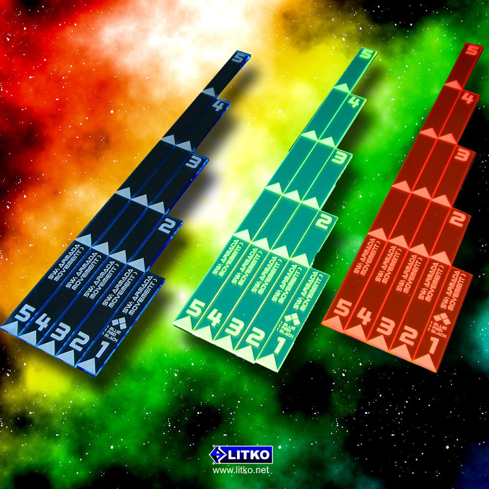 5 Fluorescent Blue Armada Multi Range Movement Ruler Set Litko Game Accessories SW