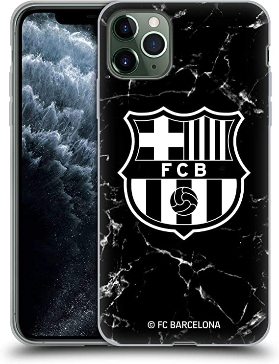 Amazon Com Head Case Designs Officially Licensed Fc Barcelona Black Marble Crest Patterns Soft Gel Case Compatible With Apple Iphone 11 Pro Max